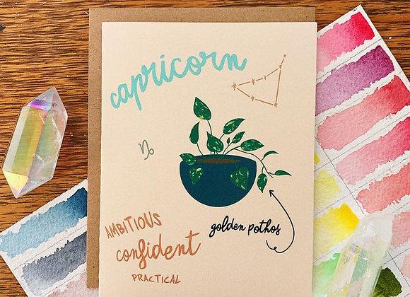 Capricorn HousePlant Birthday Card