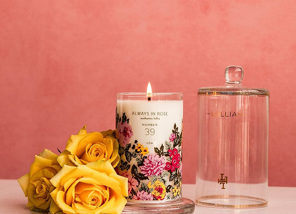 Lollia Always In Rose Glass Candle with Cloche