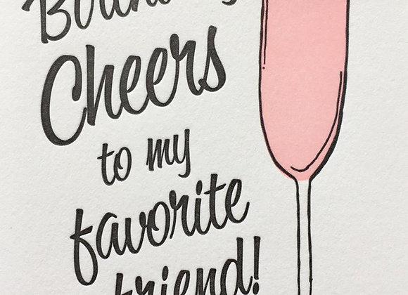 Cheers Champagne Birthday Card
