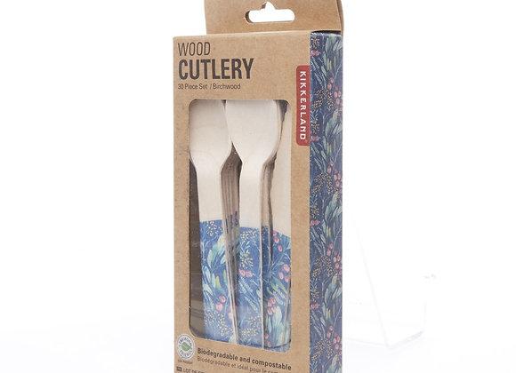 Wood Cutlery set of 30