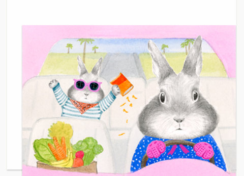 Mom Bunny Driving Mother's Day Card