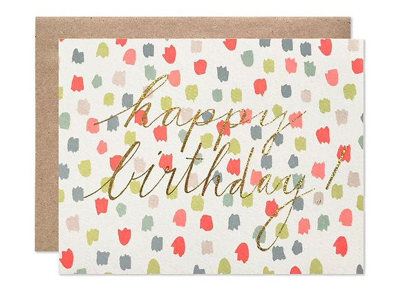 Happy Birthday Multi-Colours Dots Glitter Foil Card By Hartland Brooklyn