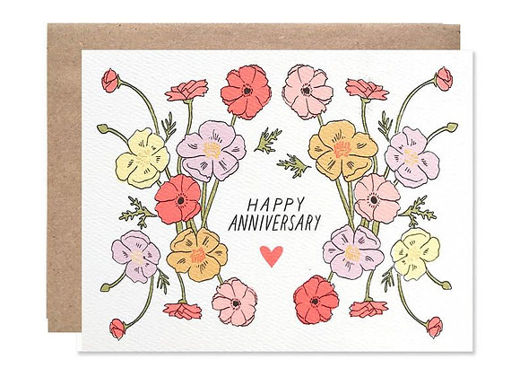Happy Anniversary Poppies Card by Hartland Brooklyn