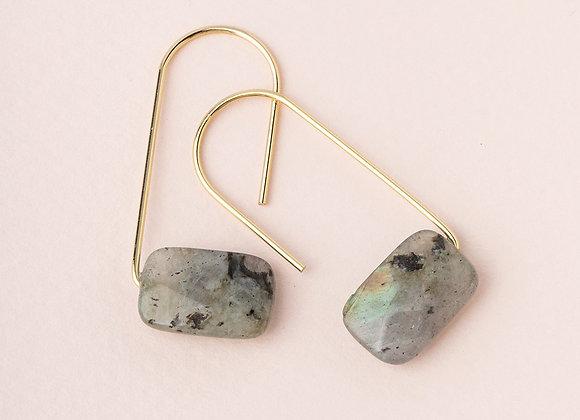 Floating Stone Earring Labradorite Gold