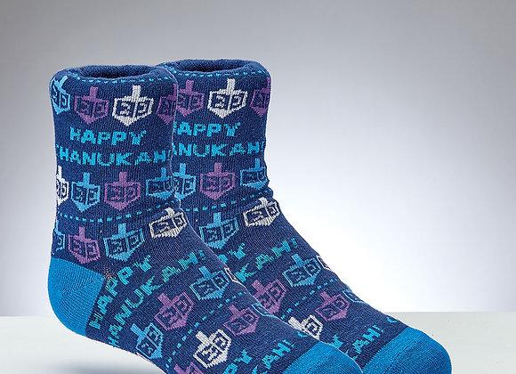 Chanukah Dreidles & Happy Chanukah - Youth Socks