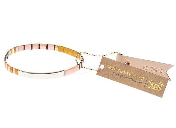 Good Karma Miyuki Bracelet Be Fierce Pink Mustard Silver