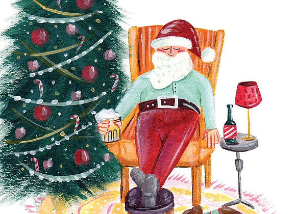 Halfpenny Joyeuses Fetes Santa Christmas Card