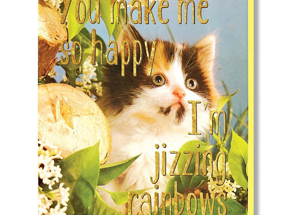 Gold Foil Jizzing Rainbows Card