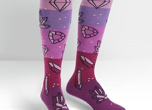 Knee High Funky Knee Crystal Heel-ing Socks