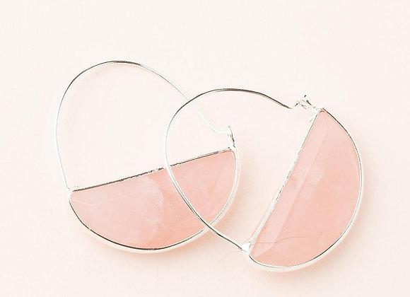Stone Prism Hoop Earring Rose Quartz Silver