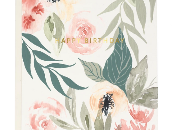 Pink Garden Birthday Card