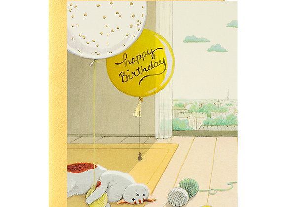 Cat And Yarn Birthday Card