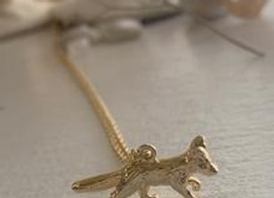 Refr Tiny Fox Charm Necklace Gold