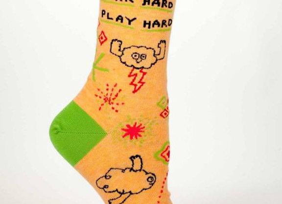 Women's Crew Socks Work Hard Play Hard