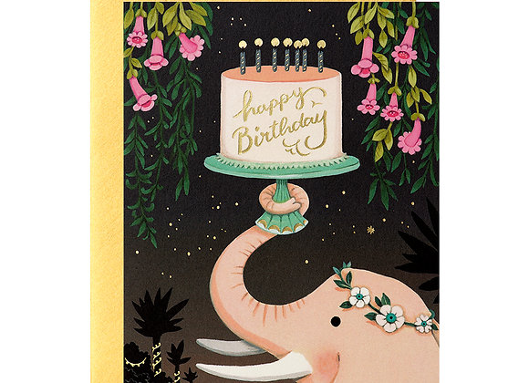 Pink Elephant Birthday Card