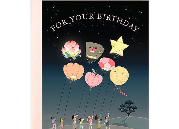 Lanterns Neon Birthday Card
