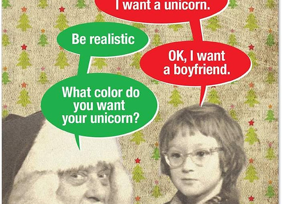 For Christmas I Want A Unicorn Christmas Card
