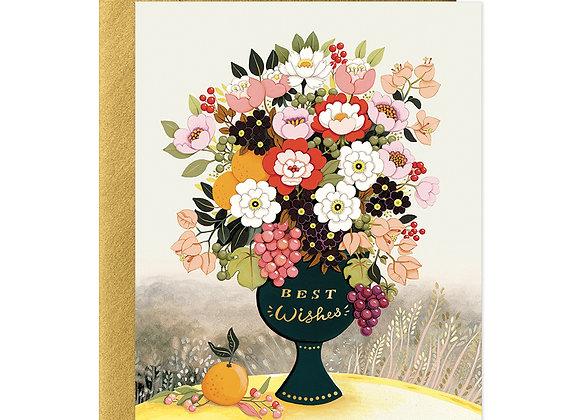 Best Wishes Flower Vase Card