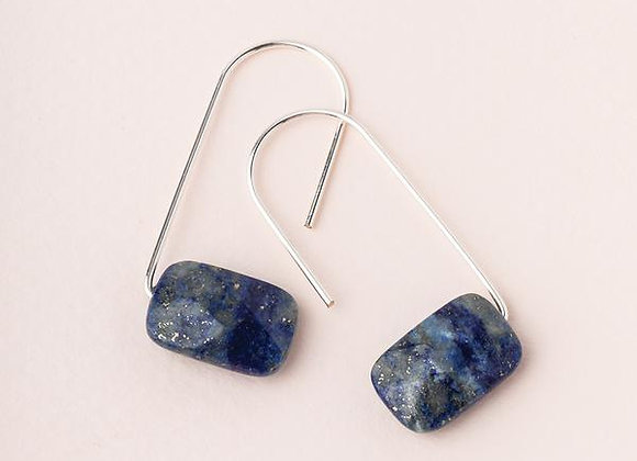 Floating Stone Earring Lapis Silver