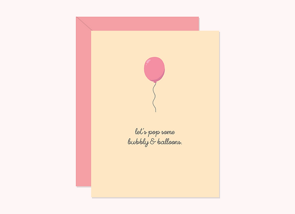 Let's Pop Bubbly & Balloon Card by Halifax Paper Hearts
