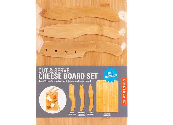 Cut & Serve Bamboo Cheese Board Set