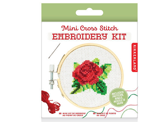 Mini CrossStitch Embroider Kit Rose - Kikkerland