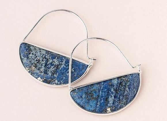 Stone Prism Hoop Earring Lapis Silver