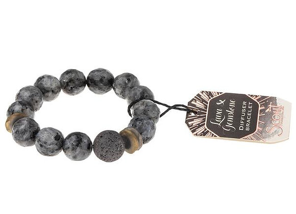 Lava & Gemstone Diffuser Bracelet Black Labradorite