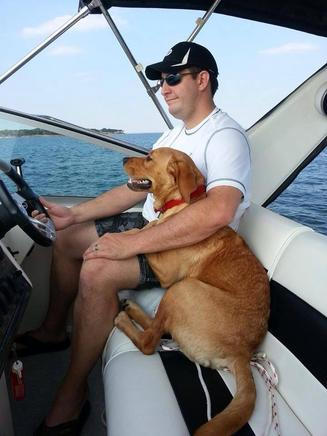 Red Lab on the Lake