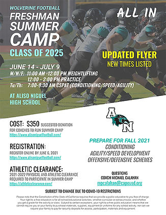 2021 Freshman Summer Camp Flyer -  Updat