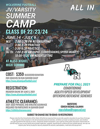 2021 JV-Varsity Summer Camp Flyer -  r1.