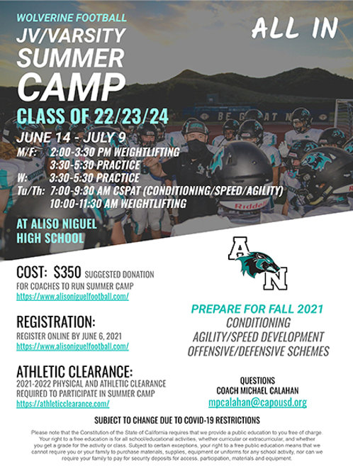 2021 JV/Varsity Summer Camp