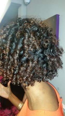 Flexi rod set on relaxed hair
