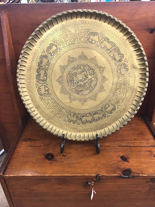 Antique Brass Hammered Tea Tray