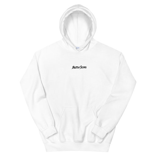 White Hoodie - Embroided Battle Scars Logo