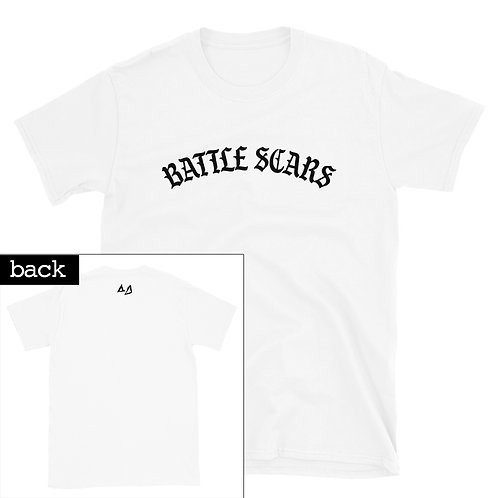 White Battle Scars Tee - Front and small Back Print