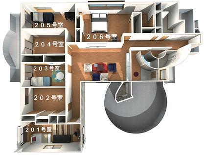 沖縄,シェアハウス,サクラ,2階,平面図