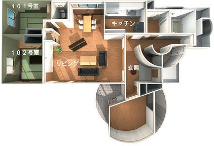 沖縄,シェアハウス,サクラ,1階,平面図