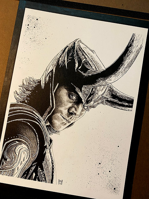 Loki 8x10 Original Pen and Ink Drawing