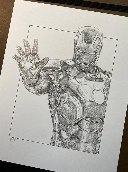 Iron Man 8x10 Original Pencil Drawing