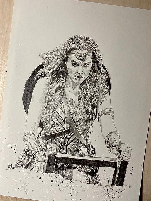 Wonder Woman 8x11 Original Pencil Drawing