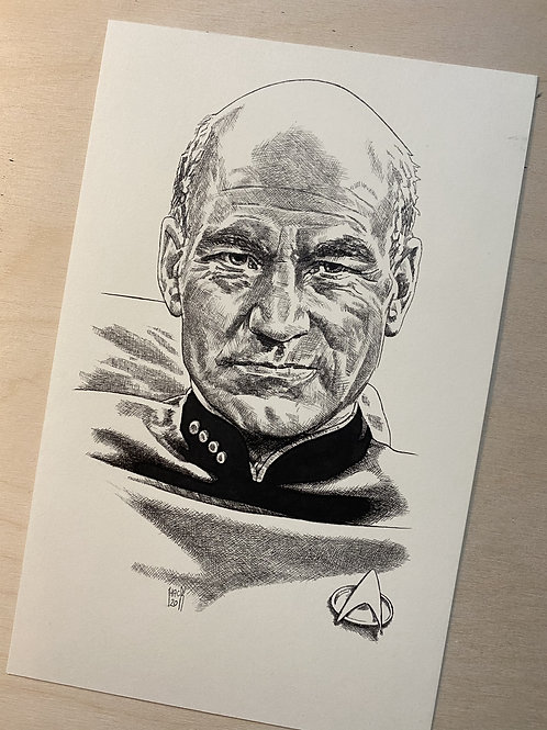 Picard Original Pen and Ink Drawing