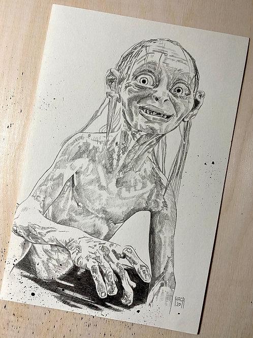 Gollum 8x5 Original Pencil Drawing