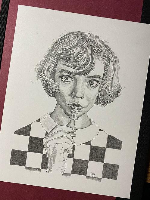 Queens Gambit Beth Harmon 7x9 Original Pencil Artwork
