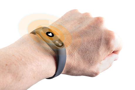 fitness bracelet-watch on a man's hand w