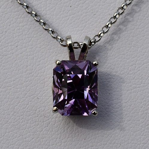 14K White Gold Pendant w/ 3.7 ct. Brilliant Emerald Amethyst