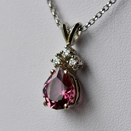 14K White Gold Pendant w/ 2.14 ct. Pear Pink Tourmaline and 3 Diamond Accents