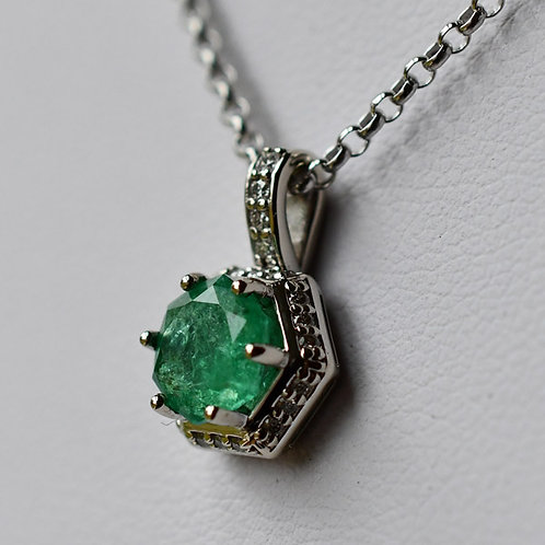14K White Gold Pendant w/  0.97 ct. Green Emerald and 22 Diamond Accents