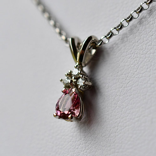14K White Gold Pendant w/ .4 ct. Pear Pink Tourmaline and 3 Diamond Accents