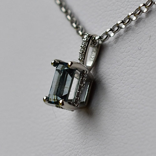 14K White Gold Pendant w/ 0.86 ct. Blue Emerald cut Sapphire, 3 Diamond Accents